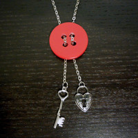 Key to my Heart Red Button Necklace