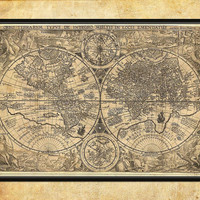 "Antique wall map Large Fine Art archival print 24"" x 35"" - 002"