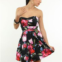 Flirty Floral Printed Strapless Dress- Sophisticated Cocktail and Party Dresses