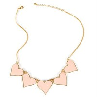 Gold/Blush Multi Heart Pendent