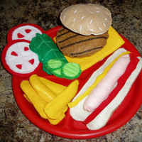 Felt Food Hamburger Hot Dog Fries BBQ Set Made by BrennysBibbies