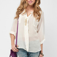 Pocket Lepel Blouse in Ivory :: tobi