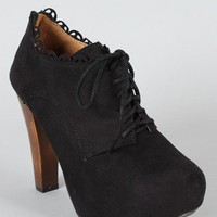 Qupid Puffin-34 Lace Up Oxford Ankle Bootie