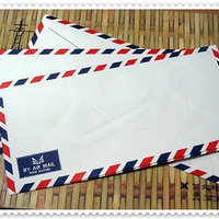 Set of 20 Vintage White Airmail Envelopes 108 cm X by schmeiky