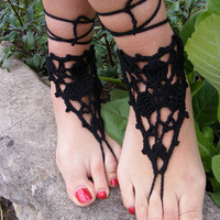 Hand crochet barefoot lace sandals black of pure by dachuksb7196