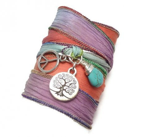 Tree of Life Silk Ribbon Bracelet with Peace Sign and Turquoise | charmed design