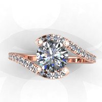 14k Rose Gold Diamond Engagement Ring with by EternityCollection