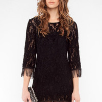Shedaisy Fringe Dress in Black :: tobi
