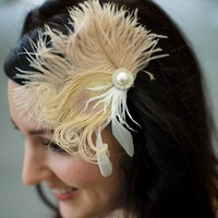 Stella  Ivory and Champagne Feather Fascinator by LaPlumeEthere