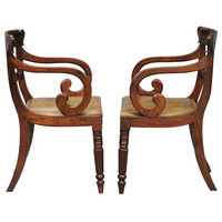 Pair English Regency Scroll Armchairs