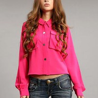 Red Vintage Irregular Hem Shirt S010035