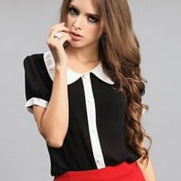 White Collar Short Sleeved Black Shirt S010032