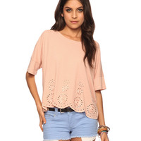 Scalloped Eyelet Top | FOREVER21 - 2005758063