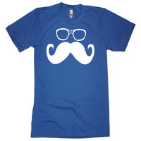 Mens Moustache Wayfarer Glasses T Shirt - American Apparel Tshirt - XS S M L XL and XXL (28  Color Options)