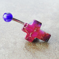 Cross Belly Button Ring Jewelry Purple Magenta Cross