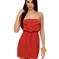 Cute Strapless Dress - Red Dress - Ruffle Dress - $40.00