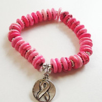 Pink Breast Cancer Awareness Silver Charm Elastic Bracelet, Pink Turquoise Stone Stamped Hope Charm