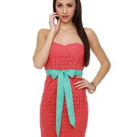 Tropical Coral Dress - Lace Dress - Strapless Dress - $70.00