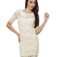 Cute Ivory Dress - Lace Dress - Short Sleeve Dress - $37.50