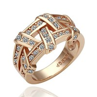 Woven 18K Gold-Plated Ring with Rhinestone Crystals (3 colors) from from:US to:YOU