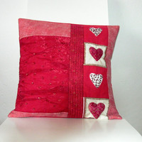 Valentine Pillow Cover Handmade and Unique by TinyPleasures