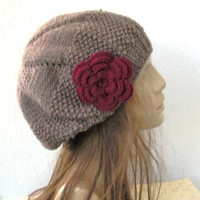 Hand Knit Hat - Womens hat- beret  Taupe with  burgundy  flower- womens Slouchy  Beanie    Fashion gifts  Winter Accessories hat fashion tam