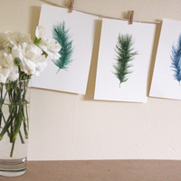 Set of 3 A6 Original Watercolour Feather by WaterFeathers on Etsy