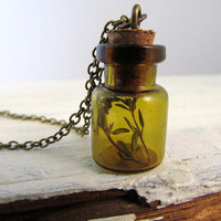 Glass Bottle Necklace Mini Bottle Pendant with Cork by IrinSkye