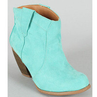Mint Cowboy Western Ankle Booties Suede Cowgirl Fashion Green Teal Boots