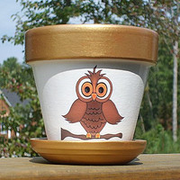 Four Inch Owl Flower Pot Terra Cotta by EllensClayCreations