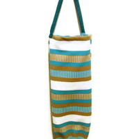Retro Fabric Plastic Bag Holder/Grocery Bag Holder Turquoise Stripe One Of A Kind