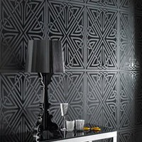 Viva Black Gloss Wallpaper by Barbara Hulanicki - Graham and Brown Wallpaper