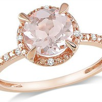 10k Pink Gold 1 1/6 CT TGW Morganite 0.05 CT TDW Diamond Fashion Ring (G-H, I1-I2)