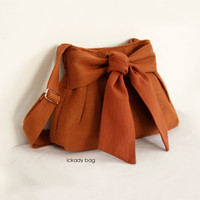 SALE - Cute Bag / Cute Purse / Small Cross body Bag / Day Bag in Burnt Orange Hemp Cotton / Bow / Passport bag