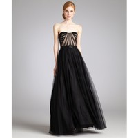 Aidan Mattox black mesh strapless corset top belted evening gown | BLUEFLY up to 70 off designer brands