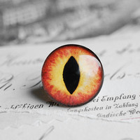 20mm handmade glass eye cabochon - orange cat or dragon eye