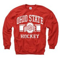 Ohio State Buckeyes Red Wide Stripe Hockey Crewneck Sweatshirt
