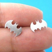 Batman Logo Bat Symbol Silhouette Stud Earrings in Sterling Silver