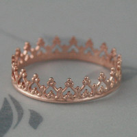NEW for Valentine's Day--Queen of Hearts Band Crown Ring--Gold Plated Sterling Silver--Rose or Yellow--YOUR size
