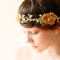 Harvest bridal hair crown, Woodland wedding, Bridal wreath - PUMPKIN SPICE - autumn head piece