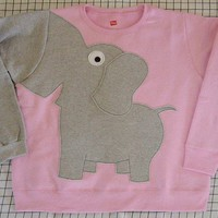 Fun Elephant Trunk sleeve sweatshirt LADIES XL Pale Pink