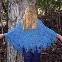 Vintage 70's Fringe SHAWL Blue Handmade With by RubyChicBoutique