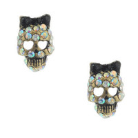 SMALL SKULL STUD EARRINGS - Betsey Johnson
