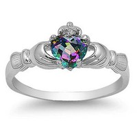 9MM 2ctw Sterling Silver FIRE Rainbow Topaz Mystic HEART Royal Claddagh Irish Ring-SIZE 4-10: Jewelry: Amazon.com