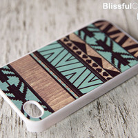 iphone 4 case  aztec geometric art mint on wood by BlissfulCASE