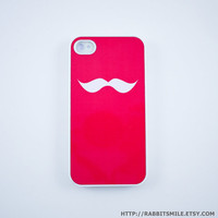 Hot Pink Mustache iPhone 4 Case iPhone 4s Case by rabbitsmile