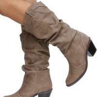 Womens Western Cowboy Mid-calf Boots Taupe Women' Size 7
