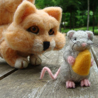 Needle Felted Cat and Mouse Talbot and Tamus - Friend or Foe Felted OOAK Soft Sculpture by Bella McBride
