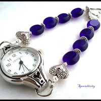 Silver Heart Watch Featuring Cobalt Blue Czech Glass Beaded Band