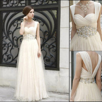 2013 Romantic Beaded WaistWedding Dress Prom Ball Evening Pageant Dresses Custom